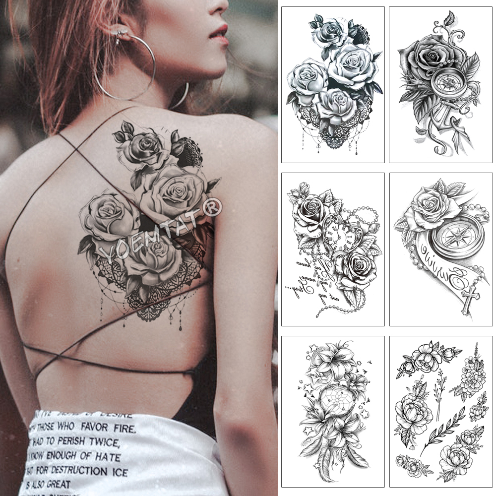 Heart Shaped Clock Jewel Rose Waterproof Temporary Tattoo Sticker Black Arm Back Flowers Big Tatto Body Art Fake Tatoo For Women