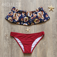 NIDALEE Off Shoulder Ruffle Swimsuit Women Sexy Bikini Mujer 2017 Swimwear Girl Bathing Suits Women S