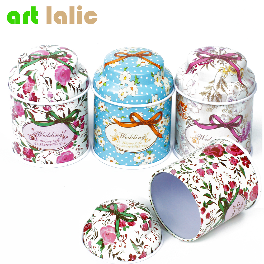 Lill Metal Kohv Suhkur Tea Tin Jar Container Candy Sealed Kannid Storage Box Peen Flower Flower Storage tank