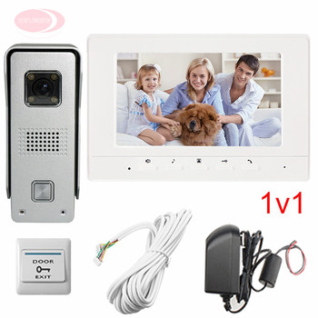 """Apartments Color 7"""" HD 700lines Intercom System Video doorphone Support Weatherproof/Night Vision/Unlock/Monitor/Video function"""