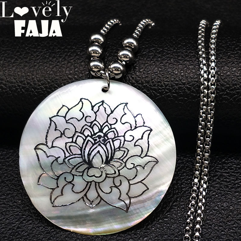 2018 Lotus Shell Stainless Steel Necklace Women Silver Color Flower of life Long Statement Necklaces Jewelry collares N18420