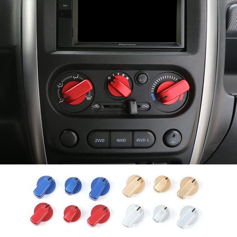 SHINEKA Date Alliage D'aluminium AC Commutateurs Couvercle Décoratif Cadre Climatisation Maj Bouton Cover Version pour Suzuki Jimny
