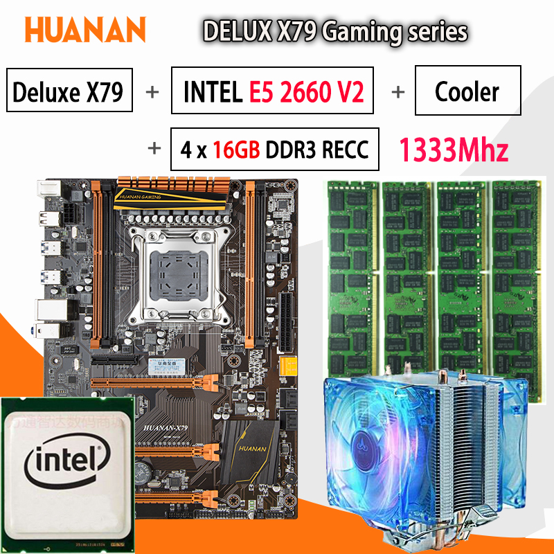 HUANAN Golden Deluxe X79 Gaming Motherboard LGA 2011 ATX CPU E5 2660 V2 SR1AB 4 X