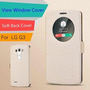 Image 2 - شاهد نافذة الجلود حقيبة لجهاز LG G3 G4 لينة غطاء حقيبة غطاء الوجه الفاخرة ل LG G3 D855 D850/G4 H818 H815 F500 غطاء الهاتف Funda