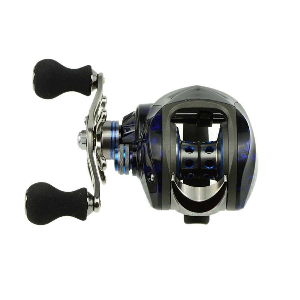 DMK 12BB 6.3:1 Left Hand Bait Casting Fishing Reel 11 Ball Bearings + One-way Clutch High Speed-Black+Blue mz15 mz17 mz20 mz30 mz35 mz40 mz45 mz50 mz60 mz70 one way clutches sprag bearings overrunning clutch cam clutch reducers clutch