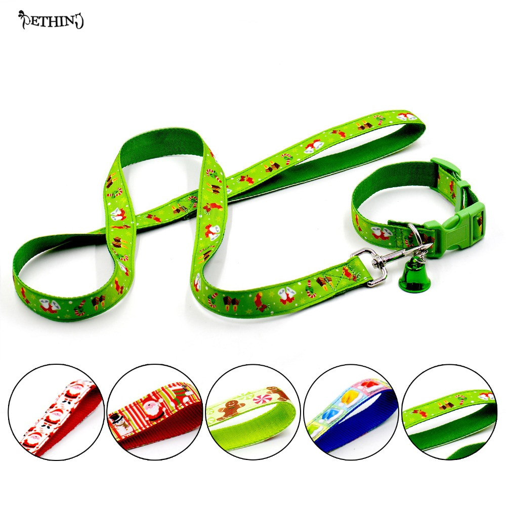 New Christmas dog collar + leash S Lsize and 5 kinds of Christmas pet dog collar leash adjustable dog pet collar puppy lead