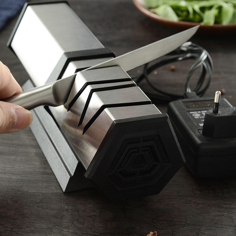 Xyj 4 estágio apontador de faca de cozinha profissional ferramenta de afiação de faca elétrica diamante moagem mais nítida para aço & facas cerâmicas
