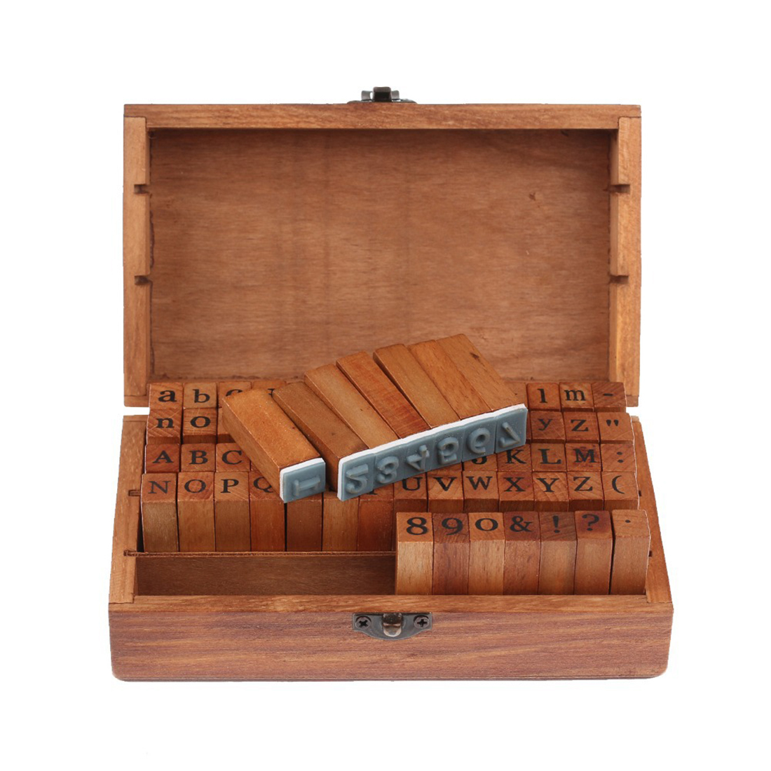 цены  Big Sale 70pcs Vintage DIY Number And Alphabet Letter Wood Rubber Stamps Set With Wooden Box For Teaching And Play Games