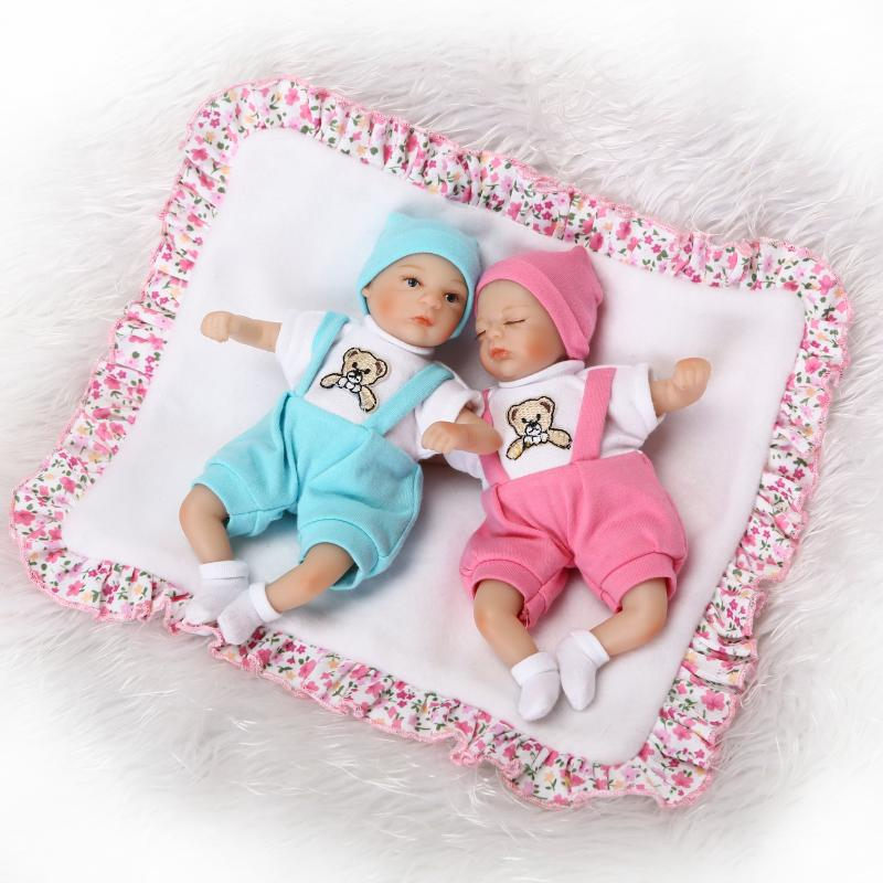 Nicery 8inch 20cm Bebe Reborn Mini Doll Soft Silicone Lifelike Toy Gift For Child Christmas Pink Hat Blue Hat Two Dolls