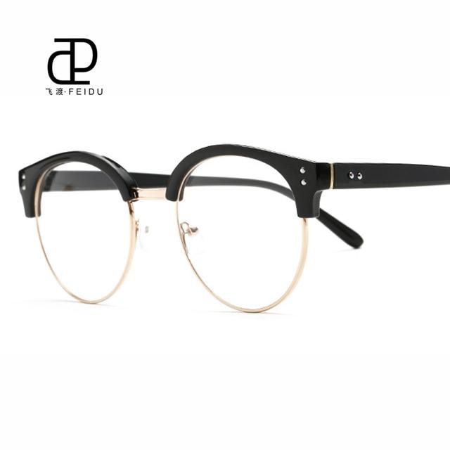 3a31b58eb3e3 FEIDU 2017 New Fashion Women Cat Eye Glasses Frame Half Metal Frame Retro Clear  Lens Eyeglasses