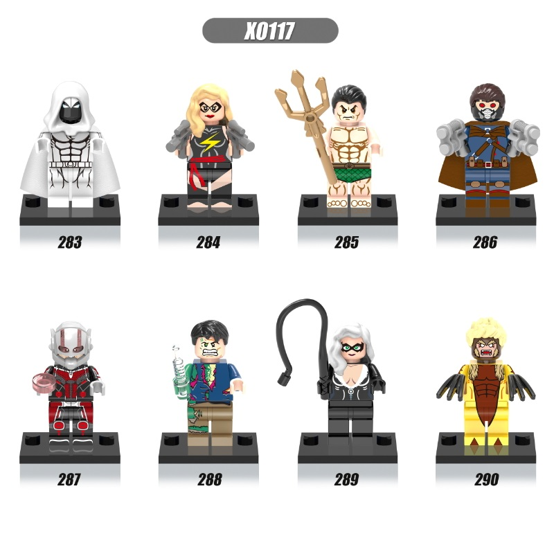 Single Sale Super Heroes Captain America Moon Knight Sabretooth Bruce Banner Antman Building Blocks Children Gift Toys X0117