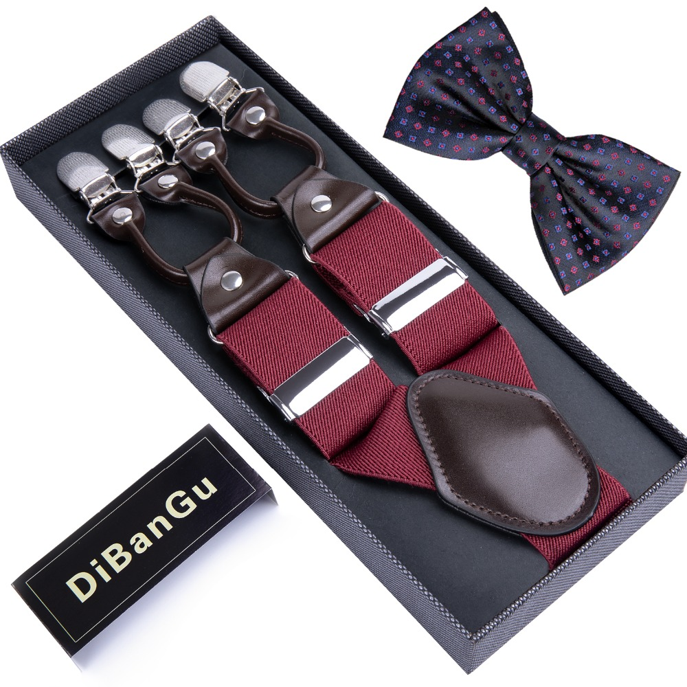 Fashion 6 Clip Men's Suspenders 3.5cm Width Adjustable Elastic Strap Red Braces Suspender Bowtie Set For Unisex BD001-LJ020