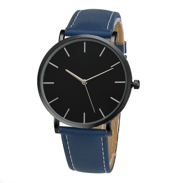 Fashion Quartz Watch Black Dial with Blue Leather Band