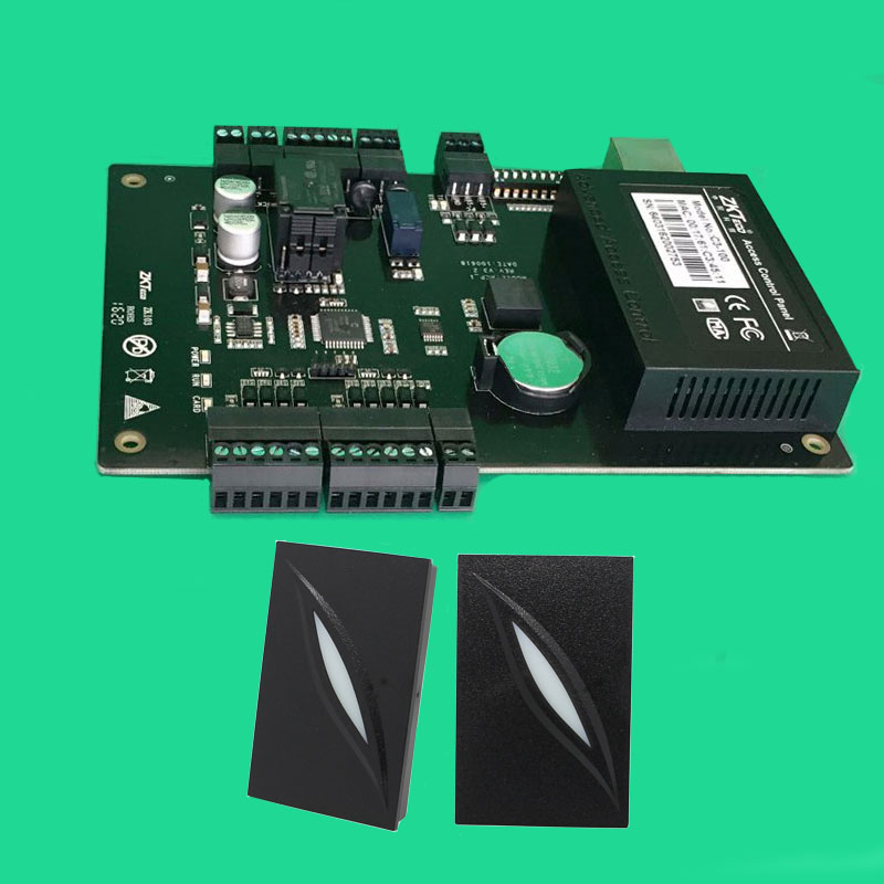 C3-100 TCP/IP One Door Access Control Panel With Metal Exit Button + 2 PCS KR101E 125khz RFID Reader