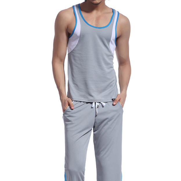 Retail Men Mesh  wear sets ( tank top + long pants) sleep Wear suits clothes 8 Colors Available Size S M L XL