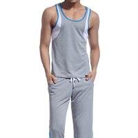 Retail Men Mesh wear sets ( tank top + long pants) sleep Wear suits clothes 8 Colors Available Size S M L XL
