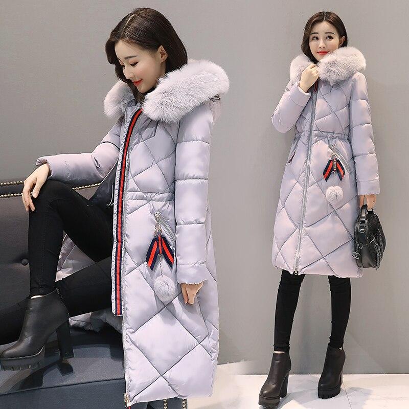 2017 롱 파커 스 여성 겨울 코트 대형 모피 칼라 자켓 여성 따뜻한 아웃웨어 얇은 패딩 코튼 자켓 코트 여성 의류-에서파카부터 여성 의류 의  그룹 2
