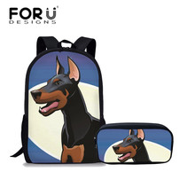 FORUDESIGNS 2Pcs/set Dobeman Printing Schoolbags Teenagers School Bags Backpacks for Girls Boys Children Large Shoulder Bagpack
