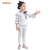 DzBoom Autumn Girls T Shirt Children Clothes Ruffles Girl Tees Fashion O Neck Pullovers Bow Solid