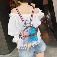 Мини школьная сумка Лазерная 101001 металлик Цвет прозрачный желе повседневное рюкзак повседневное обувь для девочек школьные ранцы