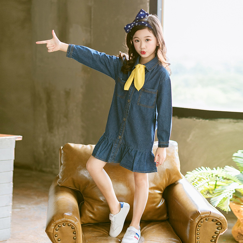 Girls Dresses 2018 Fall Denim Dress With Ruffles Long Sleeve Jeans Dress Autumn Baby Girl Clothes Kids Costume 3 4 5 6 7 8 10 11 print overalls jeans for girls 3 4 5 6 7 8 9 10 11 years 2018 new fashion baby girl fall clothes print jumpsuit long denim pant