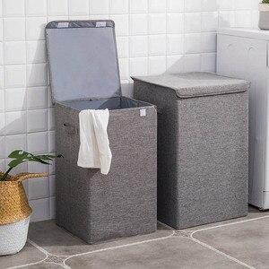 Image 2 - Seau à linge étanche pliable pour le stockage de vêtements sales, bac à linge à usage domestique, panier à linge dangle pliable avec couvercle