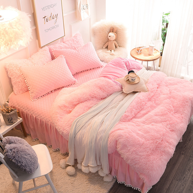 4pcs/set New Princess Style Winter Soft Warm Long Plush Shaggy Cashmere Duvet Cover Bed Skirt Fitted Pillowcase Bedding Set