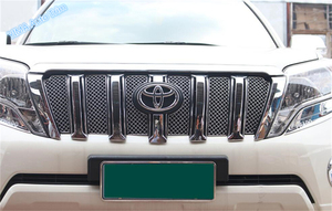 Lapetus For Toyota Land Cruiser Prado FJ150 2014 - 2017 Stainless Steel Front Grille Grill Bezel Honeycomb Mesh Cover Trim 6 Pcs