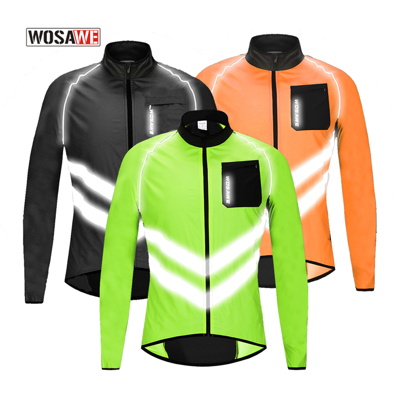 WOSAWE Motorcycle Jacket Windbreaker High Reflective Ciclismo Ultra-Light Windproof Wind Tops Coat Visibility