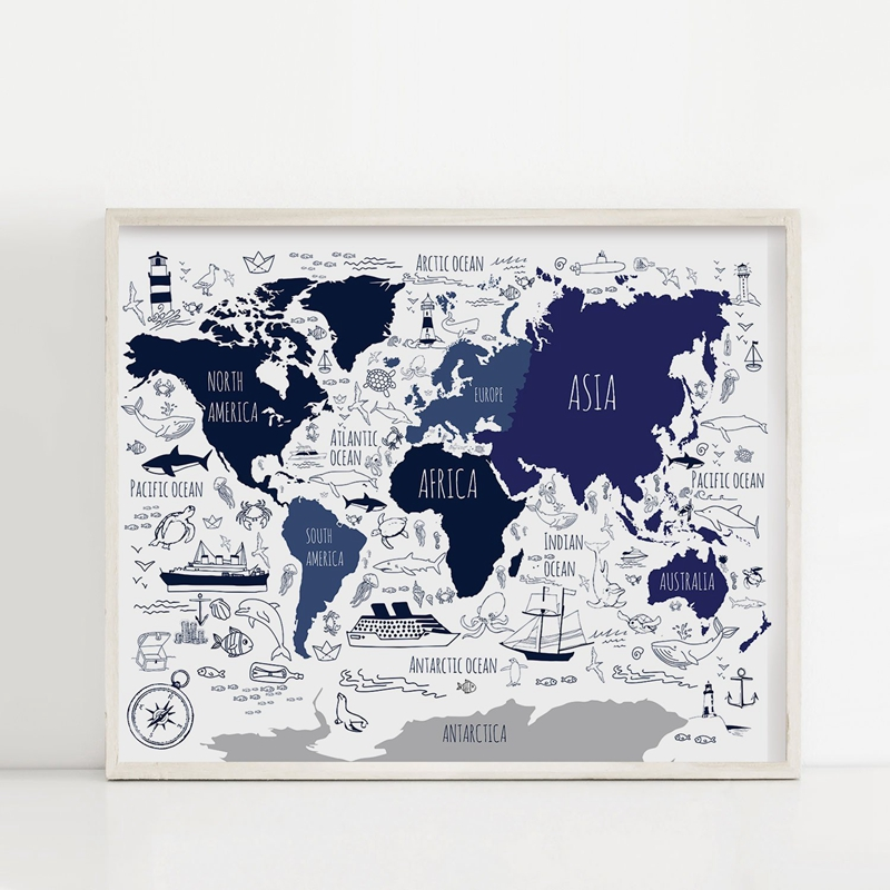 Navy Blue Nautical World Map Poster For Kids , World Map Canvas Painting Wall Art Prints Boys Room Nautical Decor
