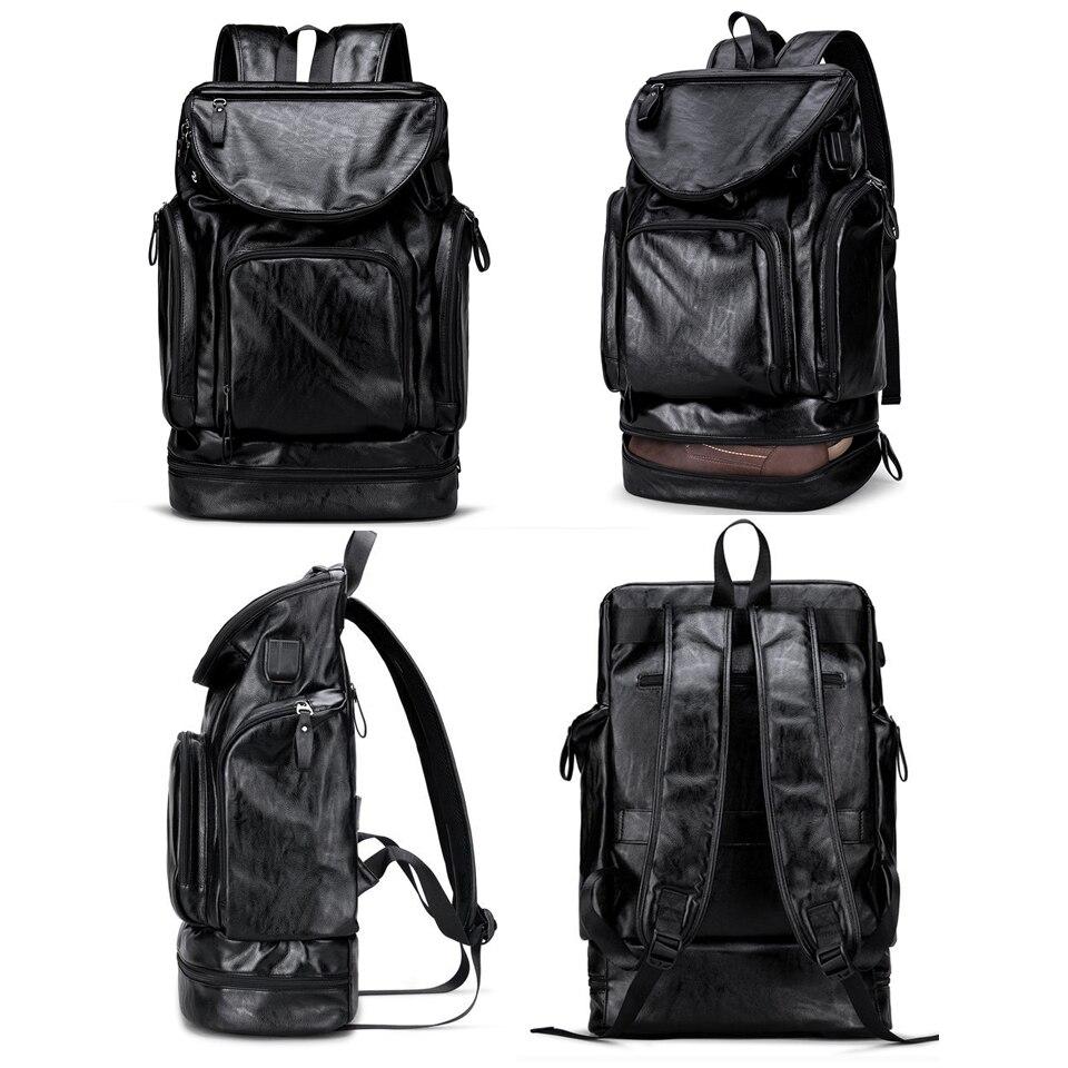 17 pouces ordinateur portable 15.6 PU cuir sacs à dos Anti-vol hommes mode sac à dos dos Packs voyage étudiant sacs chaussures USB musique sac à dos - 5