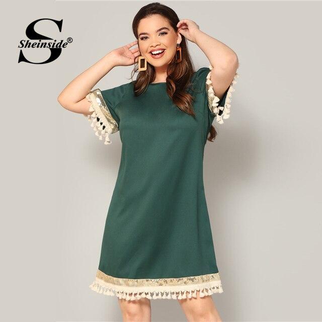 Sheinside Plus Size Elegant Sequin Detail Straight Dress Women 2019 Summer Fringe Sleeve Patchwork Dresses Ladies Midi Dress 4