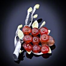 Винтажная Брошь В Виде Цветка из натурального камня с серебряным