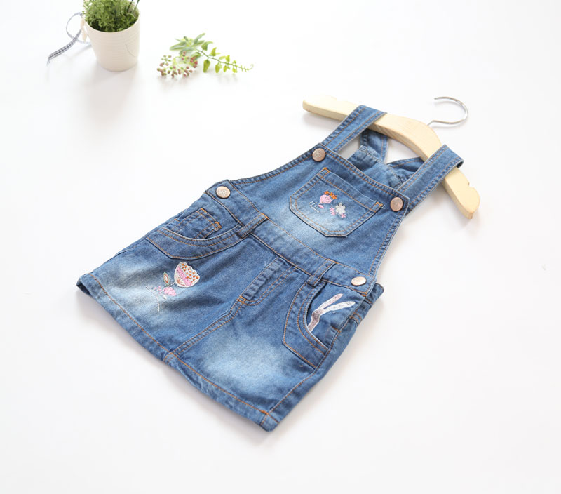 New Girls Sundress Baby Soft Denim Sundress Girls Embroidery-flower Sundress Kids Suspender Denim Dresses Child Casual Dress 2017 new arrival baby girls denim sundress girls fashion sundress kids suspender denim dress child casual sundress