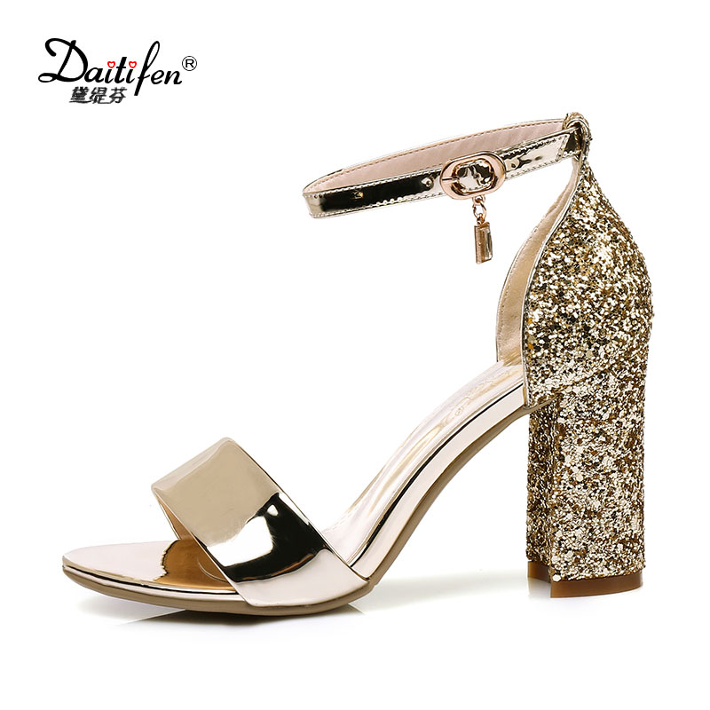 2017 Summer Fashion Women Sandals Bling Bling Ankle Buckle Strap High Thick Cover Heels Sexy Women