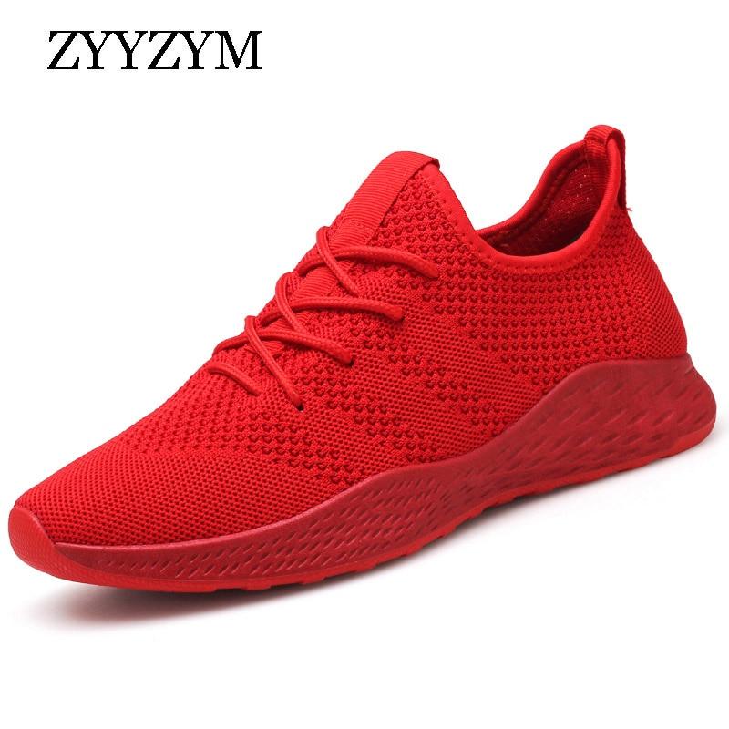 ZYYZYM Men Sneakers Big size EUR 39-46 Lace-Up Men Casual Shoes Net Cloth Breathable Male Shoes Footware Outdoor