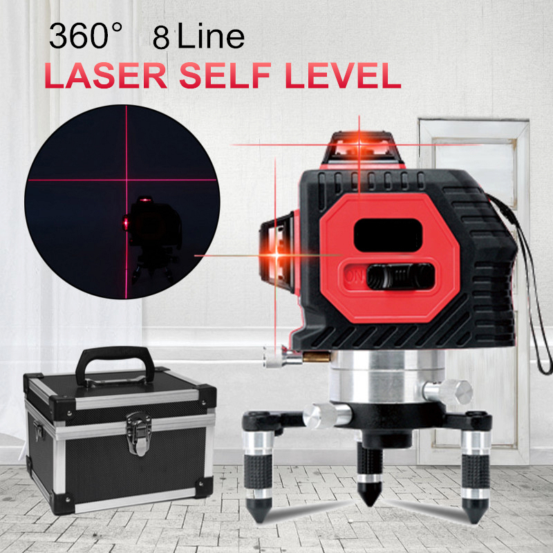 Newest 8 Line 3D Laser 638nm Auto Self-Leveling 360 Horizontal Vertical Cross Red line Indoor/Outdoor Cross Laser Level Tools red 8 lines 4v 4h self leveling 360 degrees auto level cross laser line laser level with out button for brighter laser line
