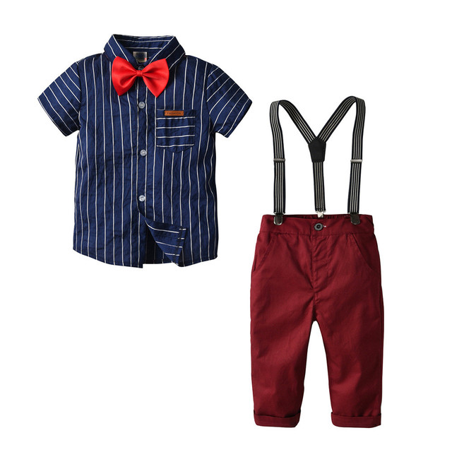 2,3,4,6,8Y Striped Shirts+Pant Boys Clothing Set Autumn Boys Suits For Weddings KS-1927