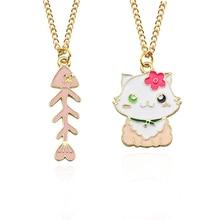 Creative DIY Trendy Cat Fish Bone Pendant Enamel Choker Necklace Gold Chain Cartoon Cat&Fish Necklaces&Pendants Anime Jewelry