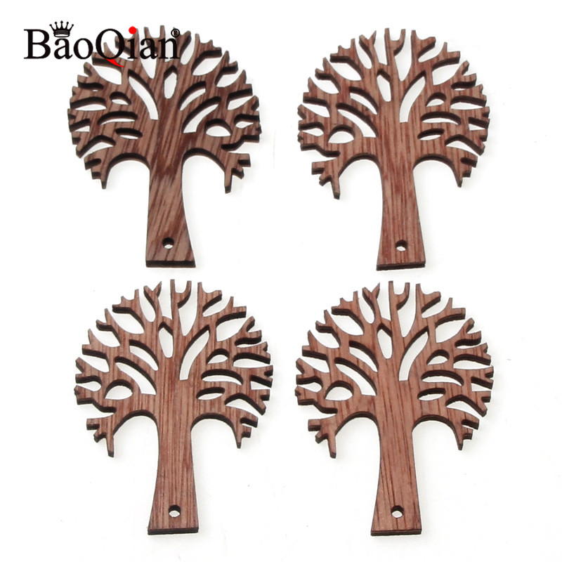 10Pcs Brown Color Wooden Tree Embellishments For DIY Crafts Hanging Embellishments For Party Wedding Home Decoration