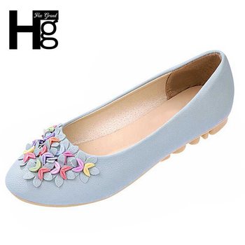 HEE GRAND 2017 Hot Crescent Flower Causal Women Flat Shoes PU Leather Ladies Mocassine Soft Sole Woman Flats XWD1394