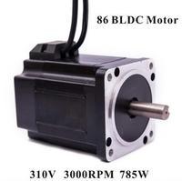 86 Brushless DC Motor 310V 785W 3000rpm Square Flange 86 mm