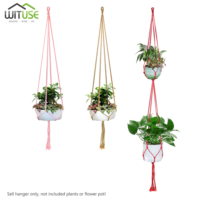 2x Flower Pot Hanging Basket Plant Hanger Indoor Outdoor Planter Hand Knitting Rope