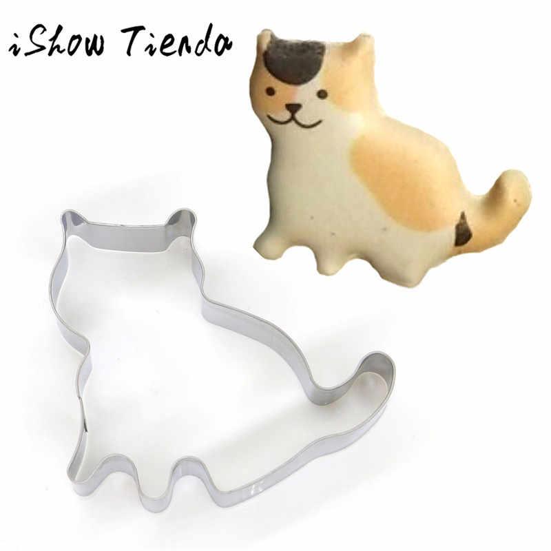 Kedi Şekli Alüminyum Kalıp Bakeware Fondan Kek Kalıp DIY Şeker zanaat 3D Pasta Çerez Kesiciler Pişirme Araçları Pasta Pişirme Kesici