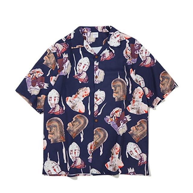 dd47ec13da Mens Harajuku Shirt 2019 Spring Summer Short Sleeve Hawaiian Abstract Print  Shirts Loose Fit oversized Casual