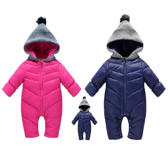c675f3fd7152 Newborn Baby winter Rompers children snowsuit thick long sleeved ...