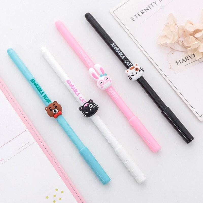 36 pcslot Adorable cat gel pen Kawaii rabbit bear 0.5mm black netural pen Cute stationery escolar office school supplies gift