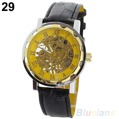 Classic Men's fashion Black Leather Skeleton Mechanical Sports Army Wrist Watches