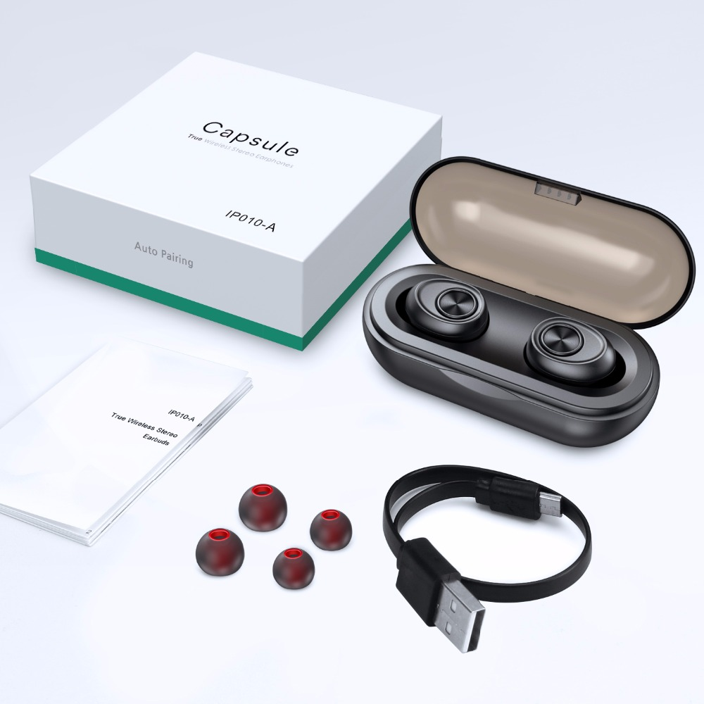 Écouteurs sans fil de la Capsule TWS d'anomoibud V5.0 casque d'écouteur de Bluetooth basse profonde stéréo son écouteur de Sport pour Samsung Iphone
