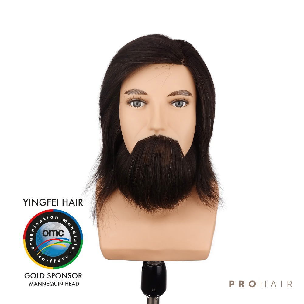 PROHAIR OMC Approved 17CM 7 100 Human Black Hair Competition Head Hairdressing Mannequin Doll Head for